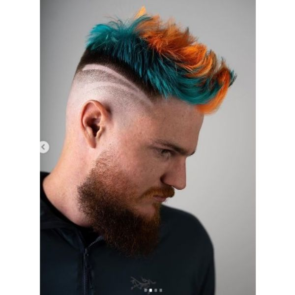 High fade haircuts for men  With Blue Orange Top Hairstyle