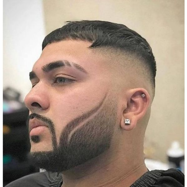 High fade haircuts for men With Cropped Top And Cat Scratches