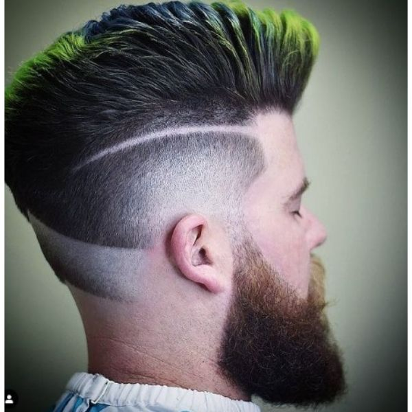 High fade haircuts for men With Green Blue Colored Pompadour