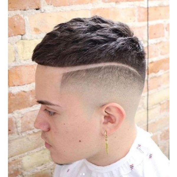 High Fade With Hard Part And Crop Top