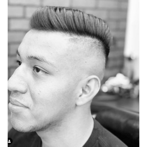 High fade haircuts for men With Hard Part And Long Side-swept Top
