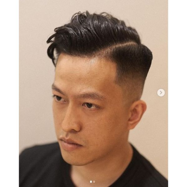 High Fade With Hard Part And