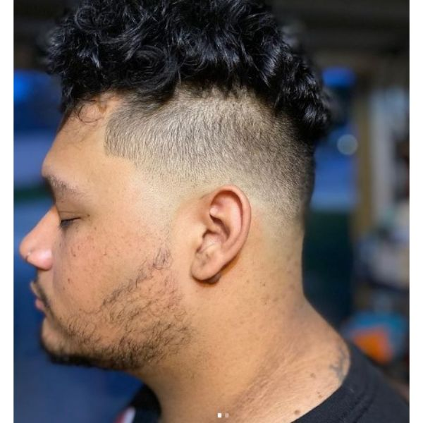 High Fade With Long Curly Top Hairstyle