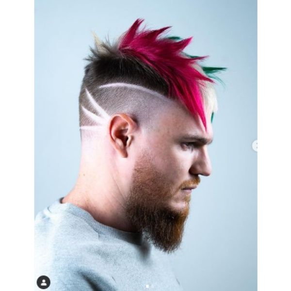 High Fade With Multicolored Top