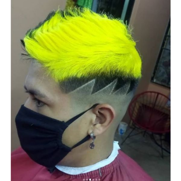 High Fade With Neon Green Spiky Top
