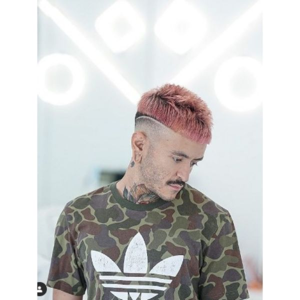 High Fade With Pink Messy Cropped Cut