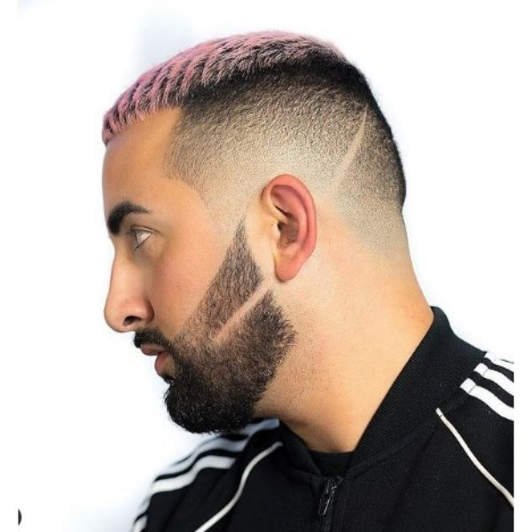 High Fade With PinkTextured Top