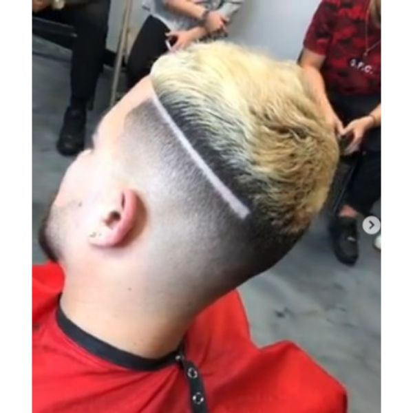 High Fade With Side Razor Design And Blonde Top