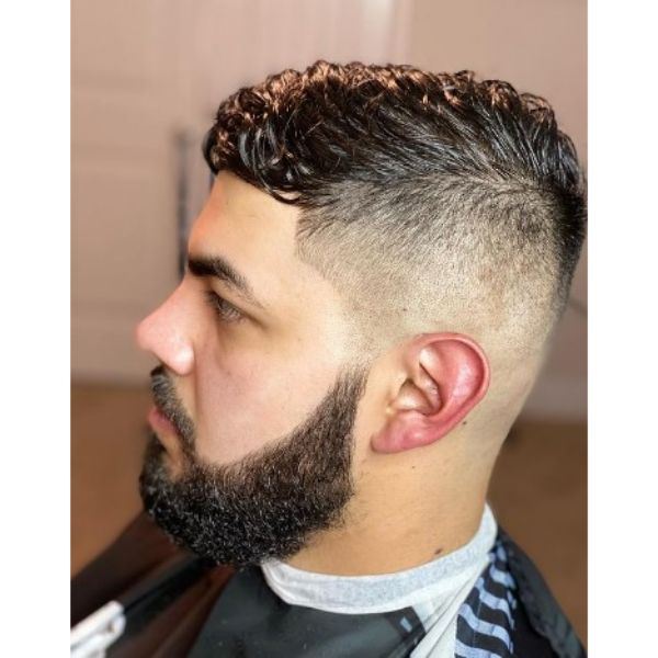 High Fade With Side-swept Wet Top