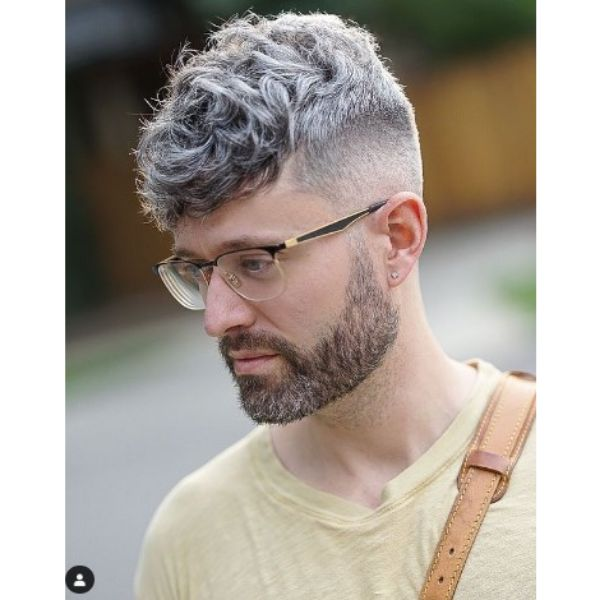 High fade haircuts for men With Silver Fox Curly Top