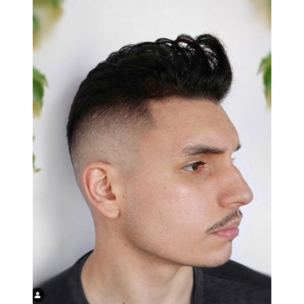High Fade With Swept Back Strands