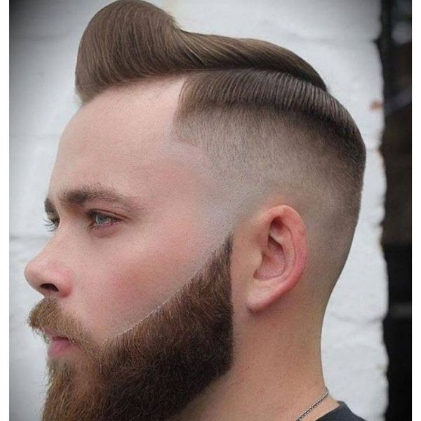 High Fade With Swept Over Top Hairstyle
