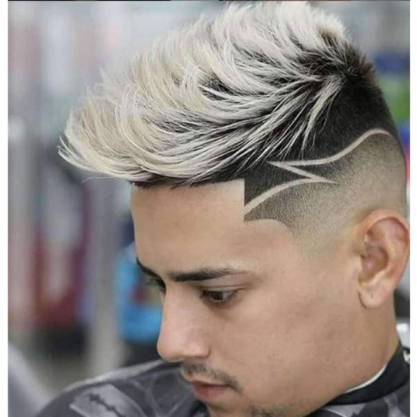High Fade With Thunder Razor Pattern and Blonde Spiky Top