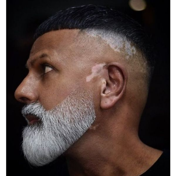 High Zero Fade With Crop Top And Contrasting Beard