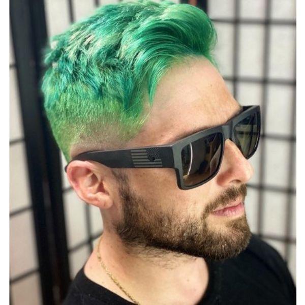 Joker Green Short Haircut With Wavy Top