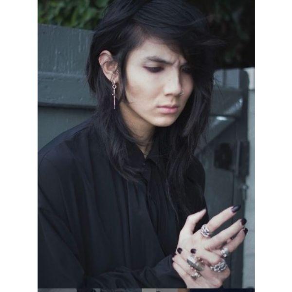 Long Dark Emo Hairstyle For Guys