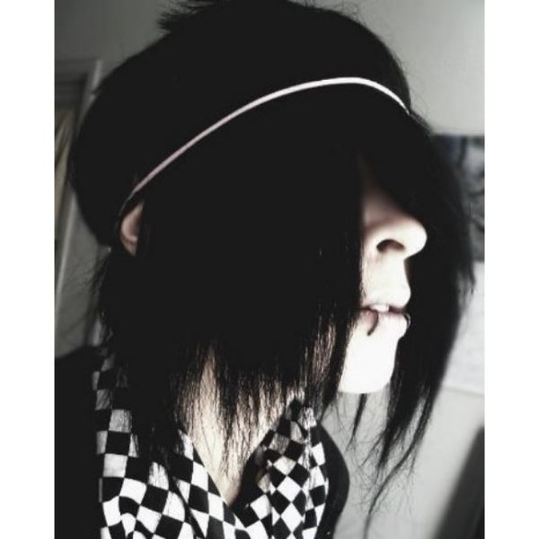 Long Straight Emo Hairstyles For Guys With Headband