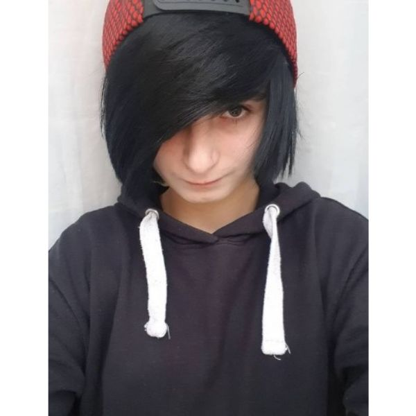 Medium Length Emo Hairstyle With Heavy Bangs