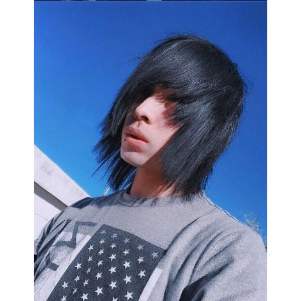 Medium Long Super Straight Emo Hairstyle For Guys