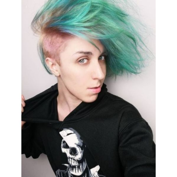 Messy Upswept Green Emo Hairstyles With Pink Shaved Sides