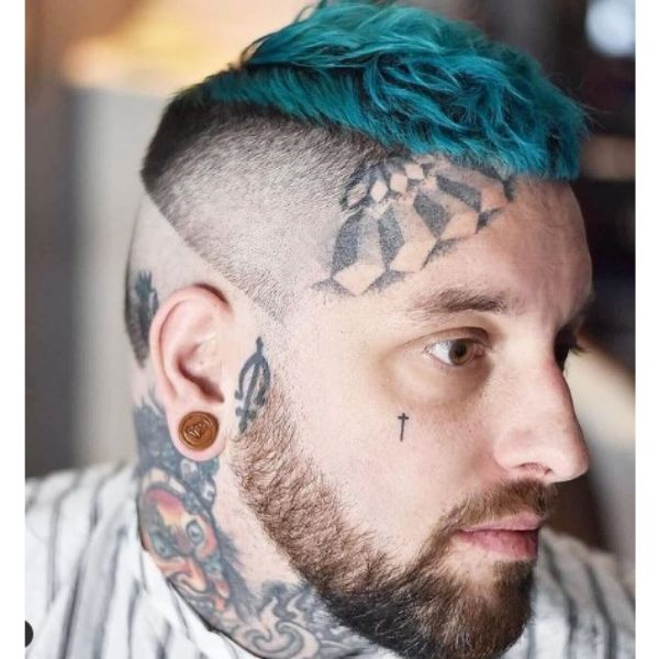Reverse High fade haircuts for men With Teal Blue Cropped Top