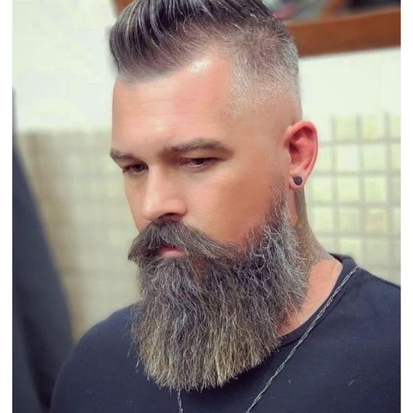 Sharp Fade With Spiky Mohawk And Long Beard