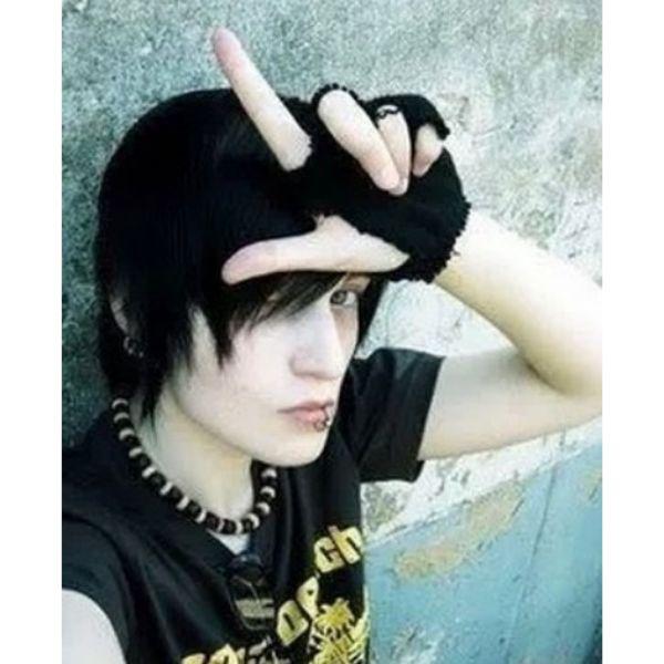 Short Side-swept Dark Hairstyle For Guys