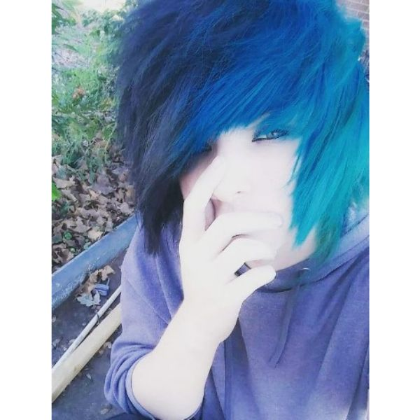 Short Spiky Teal Colored Emo Hairstyles For Guys