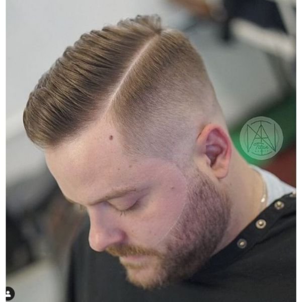 Smooth High fade haircuts for men With A Side Part Hairstyle