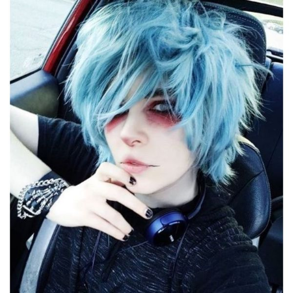 Spiky Teal Blue Messy Hairstyle