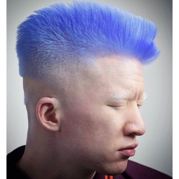 Stylish Blue High Fade With Spiky Top