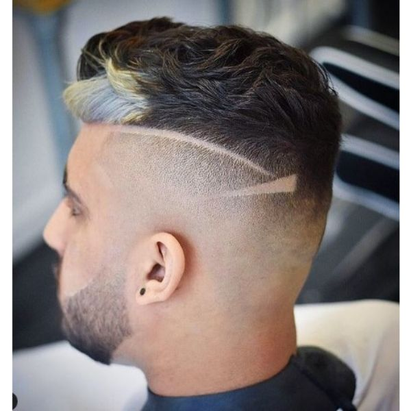 Stylish High Fade With Curly Top And Front Highlight