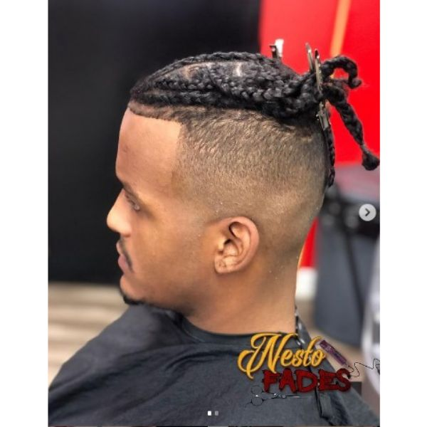 Stylish High fade haircuts for men With Box Braids Hairstyle