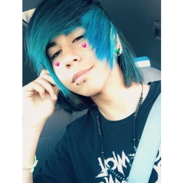 Teal Blue Straight Emo Hairstyles For Guys