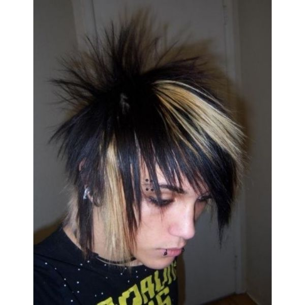 Ultra-spiky Extreme Emo Hairstyle With Blonde Highlights