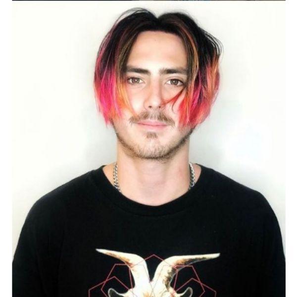 Medium Long Multicolored Bowl Skater Hairstyles For Men