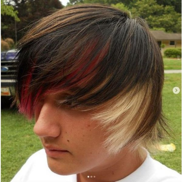 Medium Long Skater Hairstyles With Blonde And Dark Red Highlights
