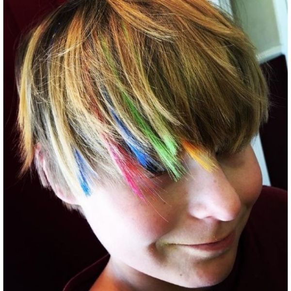 Rainbow Colored Short Haircut With Combed Forward Bangs