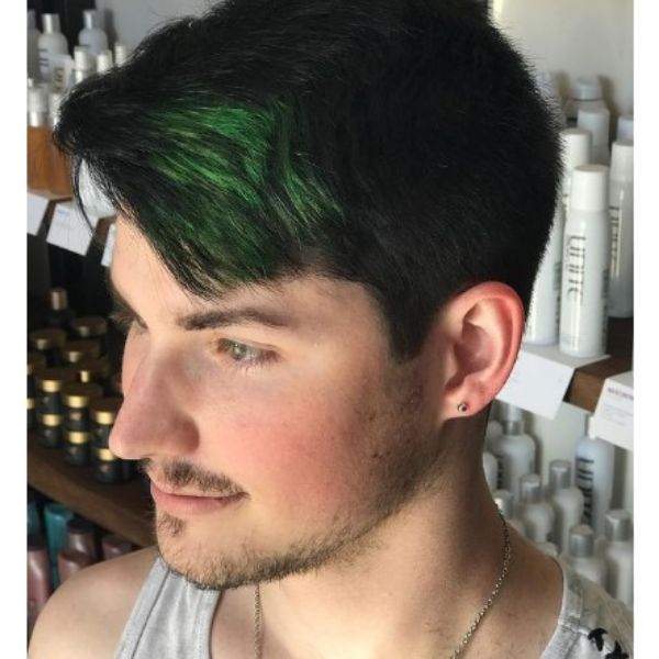 Short Skater Hairstyles For Men With Green Highlights