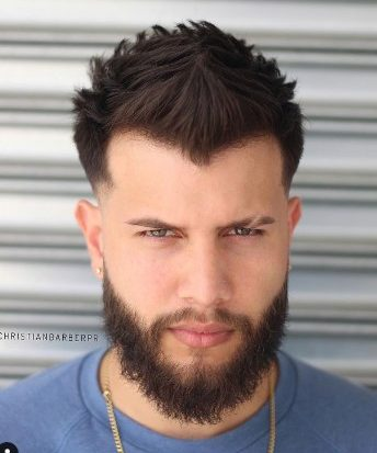 88 Spiky Hairstyle With Low Fade And Beard