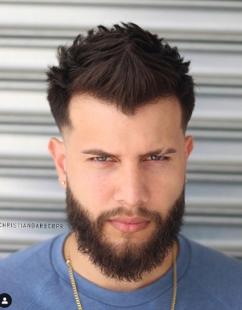 88 Spiky Hairstyle With Low Fade And Beard Widows Peak Hairstyles