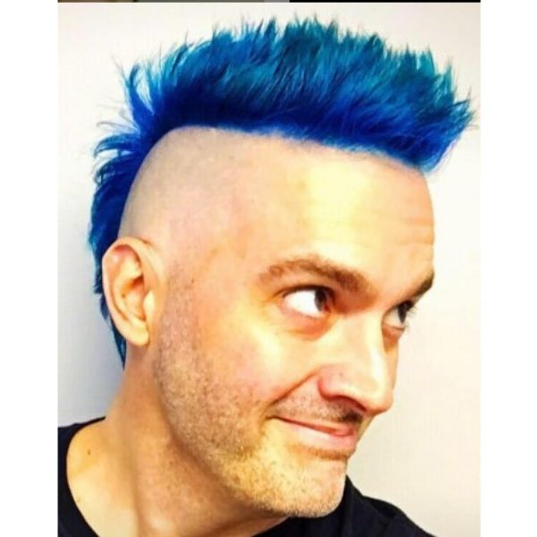 Electric Blue Mohawk With Zero Side Fade