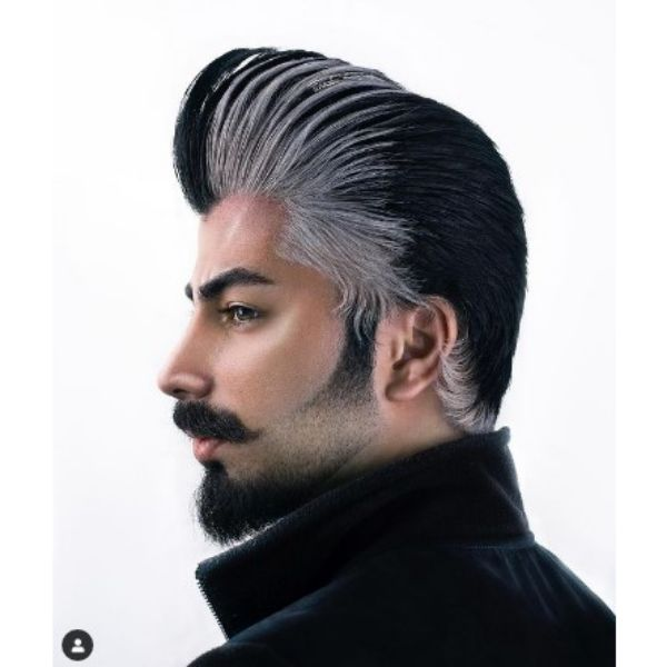 Exquisite Black& White Pompadour With Long Trim Hairstyle