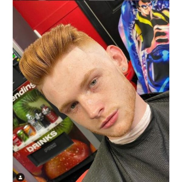 Ginger Sharp Fade With Shiny Pomp Hairstyle