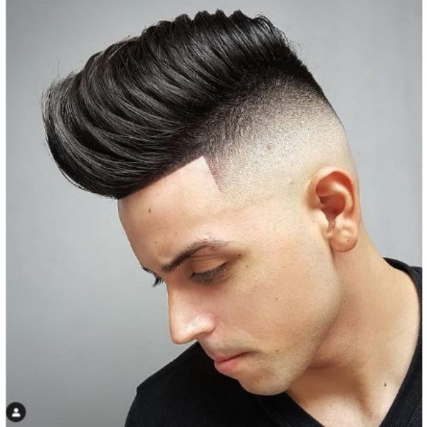 High Fade Pompadour Widows Peak Hairstyles