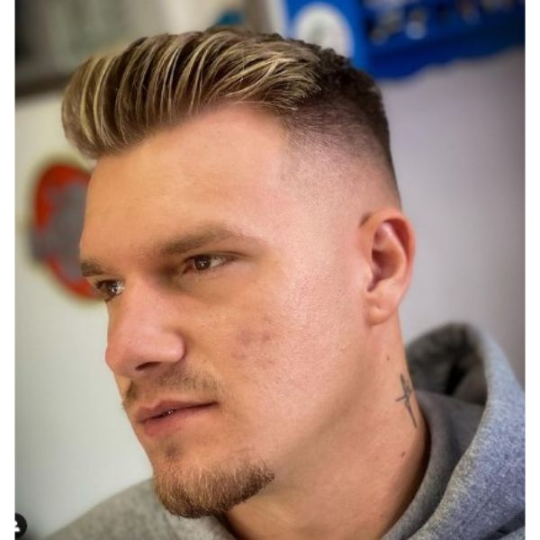 High Fade With Blonde Strands Widows Peak Hairstyles