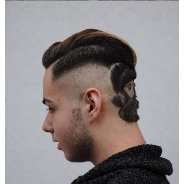 High Fade With Deep Part And Artistic Pattern