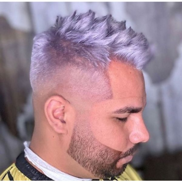 High Fade With Spiky Top For Metallic Purple Hair