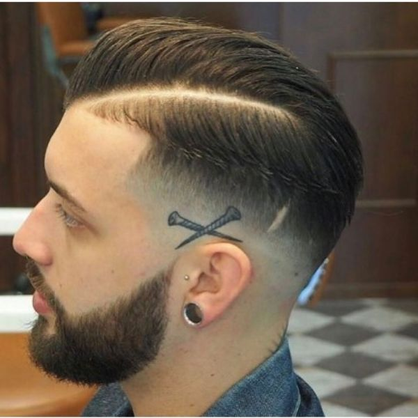 High Fade With Thick Side Part And Comb-over