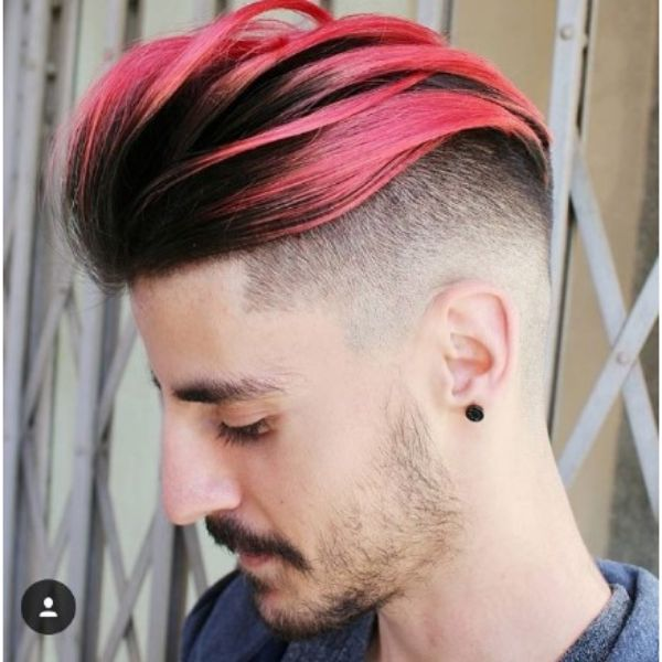High Zero Fade With Undercut And Dark Pink Highlights